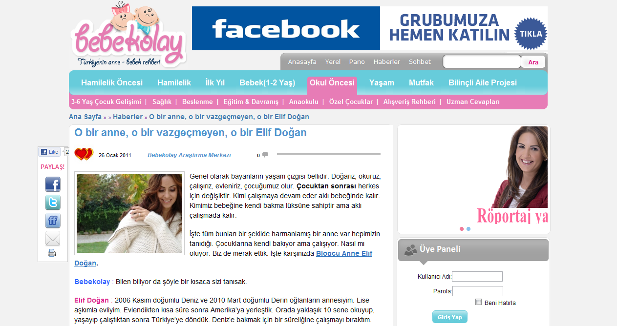 Blogcu Anne bebekolay.com'da
